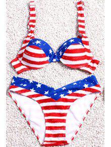 Stripe Spliced Print Straps Bikini Set - Red M