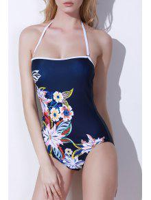 Buy One-Piece Floral Print Bandeau Swimwear - PURPLISH BLUE L