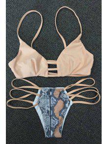 Snakeskin Print Strappy Bikini Set - Khaki Xl