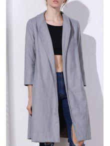 Shawl Neck Gray Wool Coat GRAY: Jackets & Coats S   ZAFUL