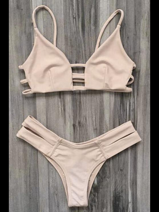 محبوك ضمادة بيكيني ملابس السباحة - مصفر الوردي XL