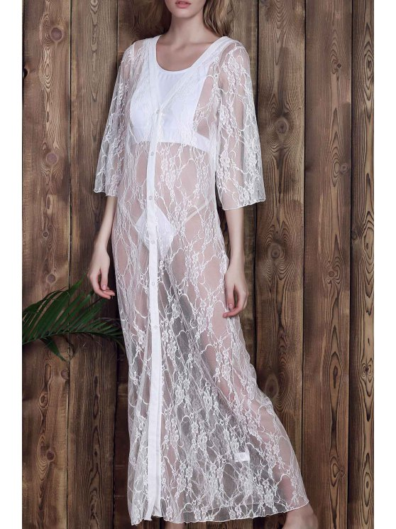 latest Lace 3/4 Sleeve Long Single-Breasted Cover Up - WHITE L