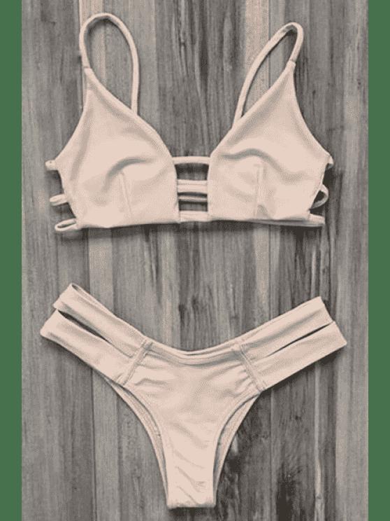 Costume Da Bagno Bikini Con Lacci A Gabbia - Rosa Giallastro XL