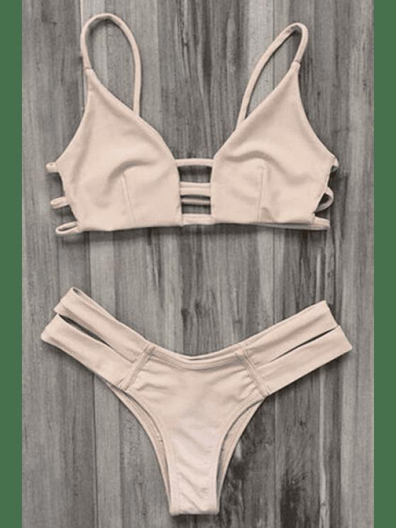 Maillot de Bain Bikini Bandeau Style Cage - Carnation M