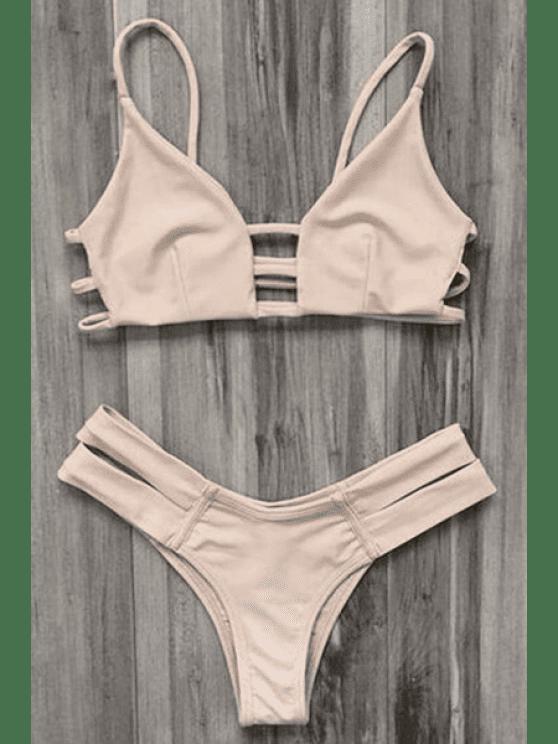 Maillot de Bain Bikini Bandeau Style Cage - Carnation S