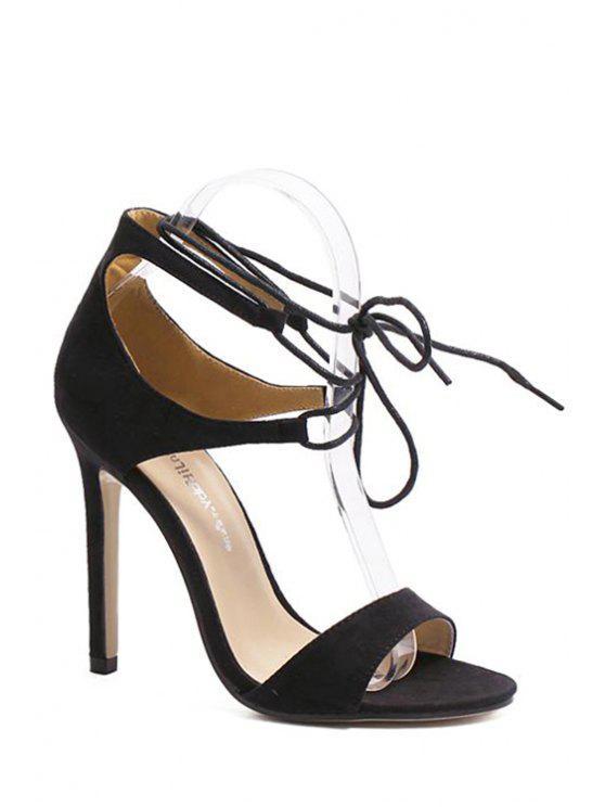 chic Flock Lace-Up Stiletto Heel Sandals - BLACK 40