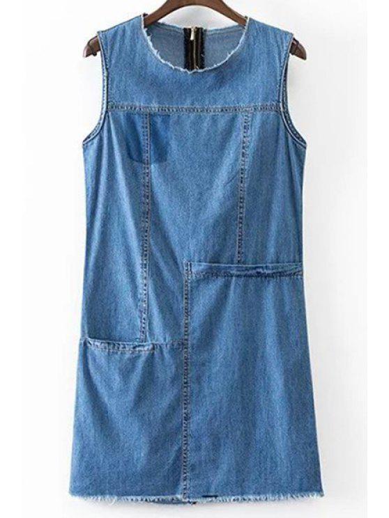 online Solid Color Pocket Round Neck Sleeveless Denim Dress - BLUE L