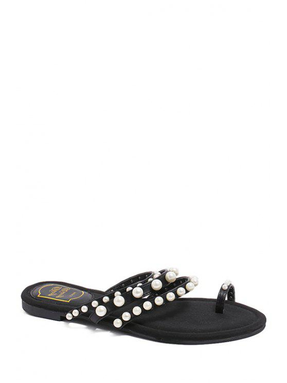 ladies Faux Pearl Toe Ring Black Slippers - BLACK 38