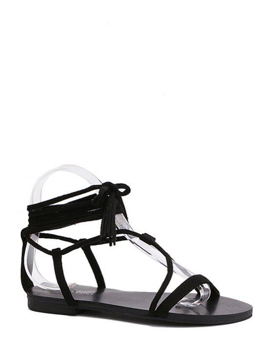 shop Flat Heel Tassel Lace-Up Sandals - BLACK 36