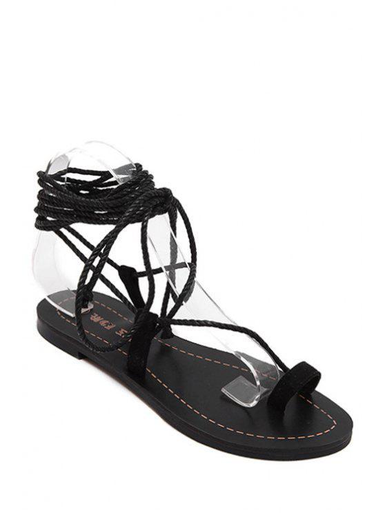 buy Flat Heel Toe Loop Lace-Up Sandals - BLACK 37