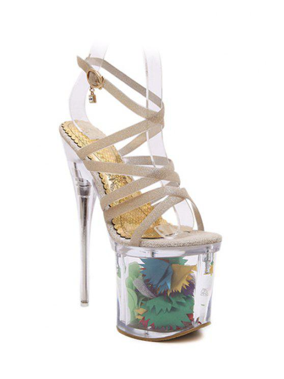 trendy Sequined Cross-Strap Super High Heel Sandals - GOLDEN 37