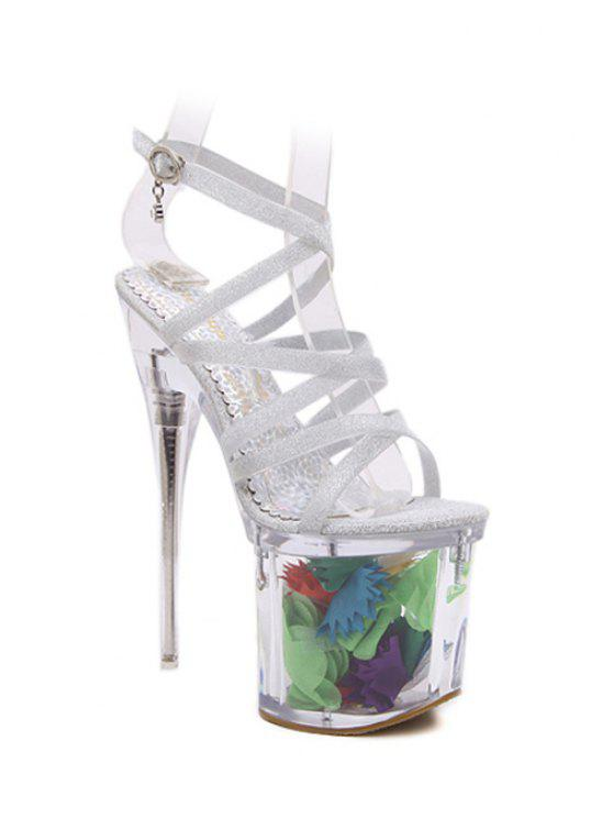 Sequined Cross-Gurt Super High Heel Sandaletten - Silber 37