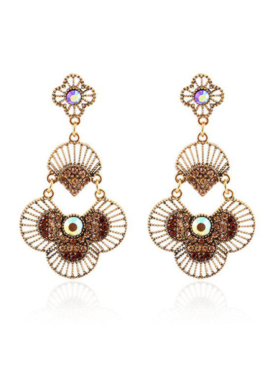 new Rhinestone Hand Fan Pendant Earrings - COFFEE
