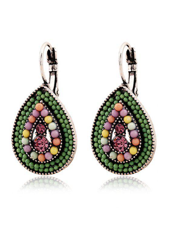 best Bead Water Drop Pendant Earrings - GREEN
