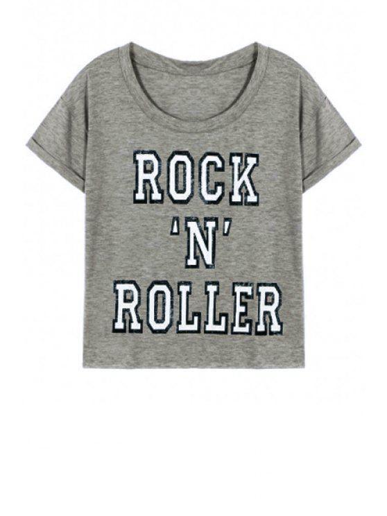Neck Lettre Imprimé ronde manches courtes T-shirt - Gris L