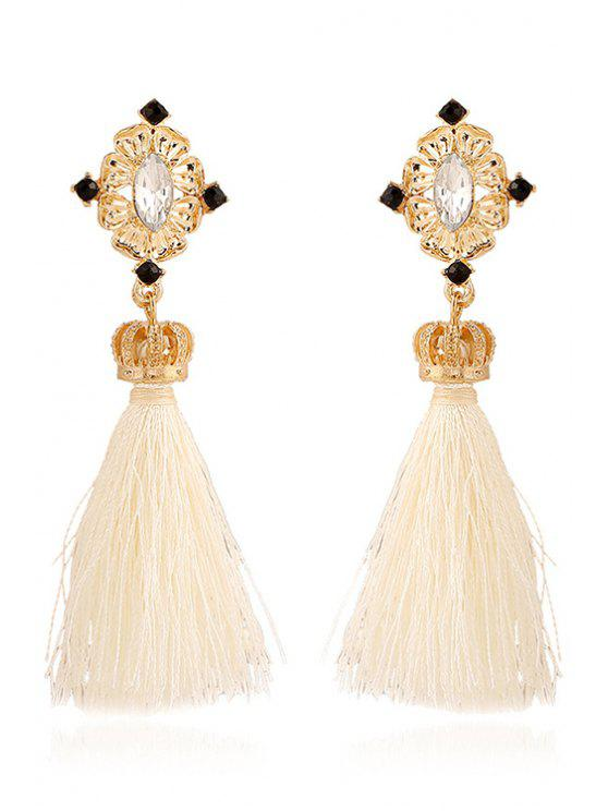 fancy Rhinestone Crown Tassel Pendant Earrings - WHITE