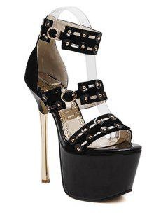 Rivet Platform Super High Heel Sandals - Black 39