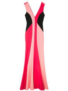Double-V Color Block Maxi Mermaid Prom Dress - L