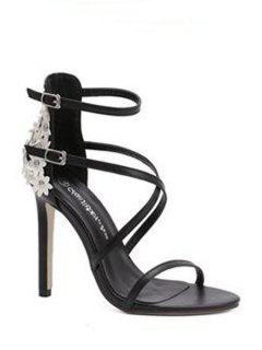 Floral Black Stiletto Heel Sandals - Black 39