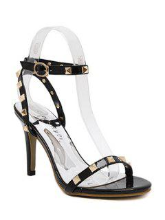 Rivet Ankle Strap Stiletto Heel Sandals - Black 39