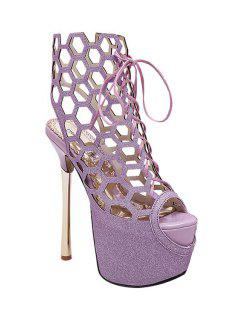 Peep Toe Hollow Out Sequined Sandals - Purple 39