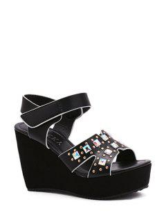 Rivet Platform Wedge Heel Sandals - Black 37