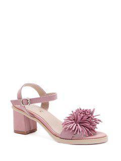 Fringe Solid Color Chunky Heel Sandals - Pink 36