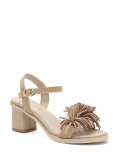 Fringe Solid Color Chunky Heel Sandals - Apricot 36