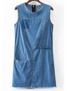 Solid Color Pocket Round Neck Sleeveless Denim Dress - Blue L
