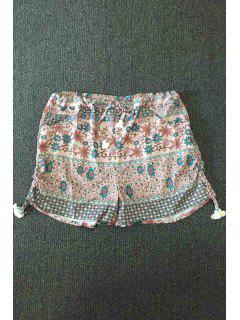 Small Floral Print Hot Pants - L
