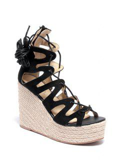 Weaving Lace-Up Wedge Heel Sandals - Black 37