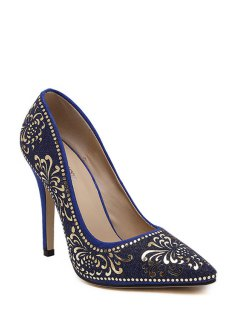 Sequined Floral Pointed Toe Pumps - Blue 39