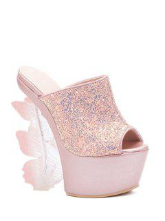 Butterfly Strange Heel Sequined Slippers - Pink 39