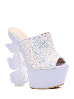 Butterfly Strange Heel Sequined Slippers - White 39
