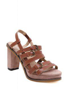 Buckles Platform Chunky Heel Sandals - Brown 39