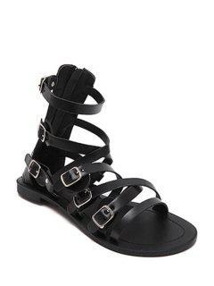Cross-Strap Buckles Flat Heel Sandals - Black 39