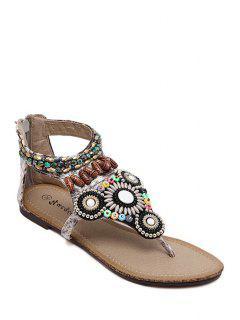 Zip Beading Flat Heel Sandals - Gray 38