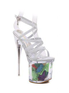 Sequined Cross-Strap Super High Heel Sandals - Silver 37