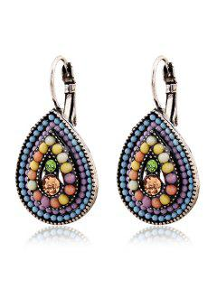 Bead Water Drop Pendant Earrings - Light Purple