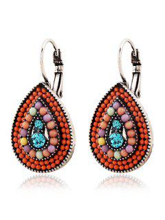 Bead Water Drop Pendant Earrings - Red