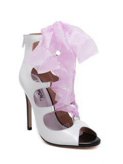 Ribbon Hollow Out Peep Toe Sandals - White 39