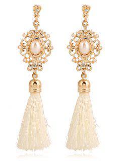 Faux Pearl Tassel Pendant Earrings - White
