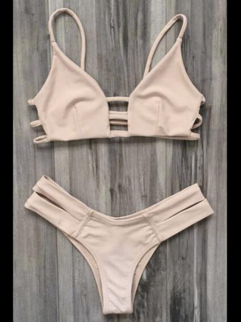 online Caged Bandage Bikini Swimwear - YELLOWISH PINK L Mobile