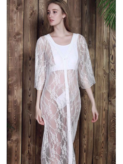 fashion Lace 3/4 Sleeve Long Single-Breasted Cover Up - WHITE 2XL Mobile