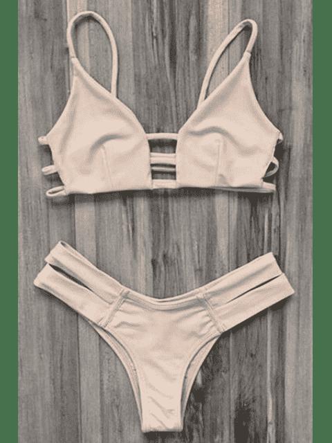 Traje de baño Bikini vendaje enjaulado - Rosa amarillento L Mobile