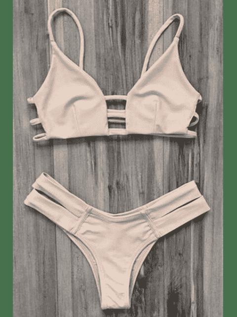 Traje de baño Bikini vendaje enjaulado - Rosa amarillento M Mobile