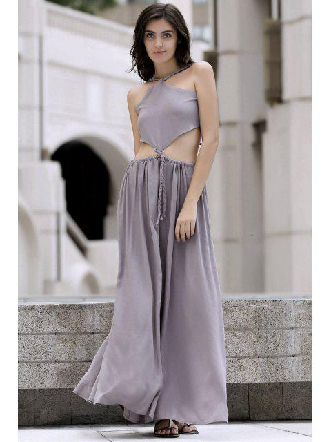 best Backless Swingy Boho Beach Dress - LIGHT PURPLE L Mobile