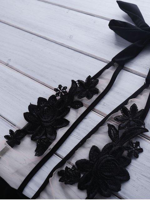 lady Lace Spliced Halter High Waist One-Piece Swimwear - BLACK L Mobile