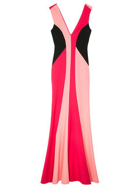 trendy Double-V Color Block Maxi Mermaid Prom Dress - COLORMIX L Mobile