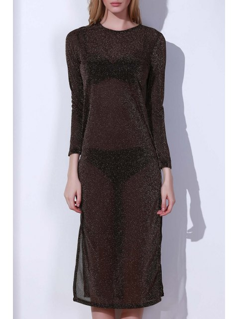 sale High Slit Long Sleeve See-Through Cover Up - COPPER COLOR XL Mobile